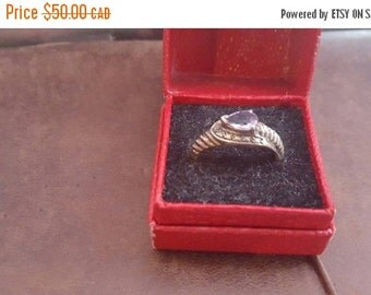 ON SALE Vintage Sterling Silver Ring with Purple Stone