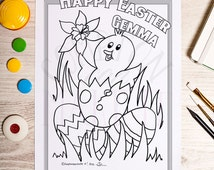 Easter colouring page - Personalised- Download (emailed post purchase)