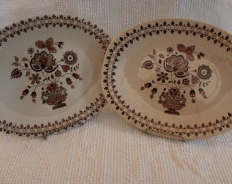 "Set of 2 Johnson Brothers 12.5"" Serving Platters - Jamestown Pattern, Brown, Staffordshire Old Granite"