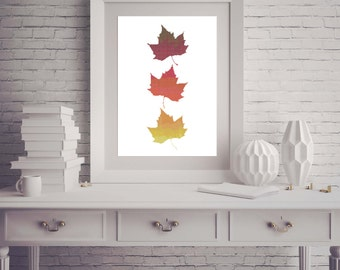 Three 3 Autumn Fall Leaves Leaf Red Orange Yellow Counted Cross Stitch Pattern - PDF Digital Download