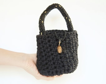 Crochet Black Pouch Bag with Chunky Handle