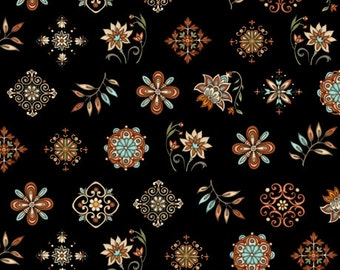 Quilting Treasures - In Bloom- black - Small Medallion
