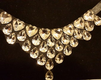 Stunning Hand Made Crystals on Fabric Statement Necklace