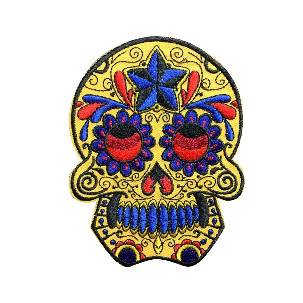 Yellow Sugar Skull Patch Blue Star Iron On Patches