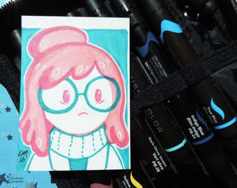 Princess Bubblegum Scientist ACEO original ATC Adventure Time OOAK