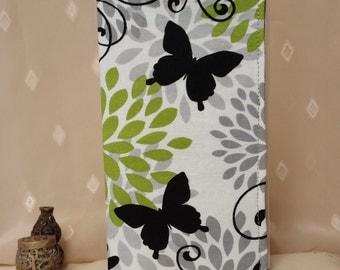 Fabric Checkbook Cover - Art Deco Butterflies