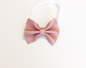 Leather Baby Bow - Baby Bow - Toddler Bow - Leather Bow - Shimmery Grapefruit