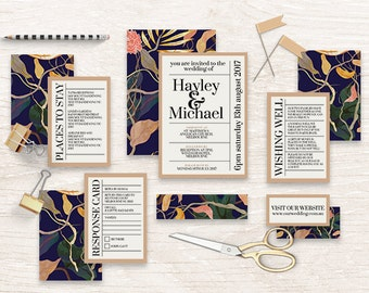 "Printable Wedding Invitation Suite ""Bohemian Dream"" - Printable DIY Invite, Affordable Wedding Invitation"