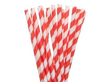 Paper Straws, Tangerine Striped Paper Straws, Orange and White Striped Straws, Tangerine Cake Pop Sticks, Birthday Party Supplies, Straws