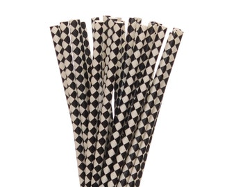 Paper Straws, Black Diamond Paper Straws, Black and White Party Supplies, Glam Hollywood Straws, Harlequin Party Straws, Little Man Party