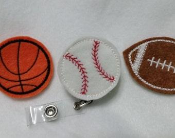 Sports Lovers Retractable Reel ID Badge Holder - Basketball Baseball Football ID Holder - Felt ID Name Badge Holder - Retractable Reel Badge