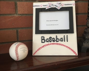 Baseball Picture Frame, Hand Painted, Photo Frame, Sports Picture Frame, Hand painted Baseball frame, Baseball, Team frame, Coaches gift
