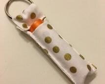 Gold Glitter Polka Dot Chapstick Holder Key Chain, Key Accessories, Lipbalm Holder, Shimmer Polka Dot