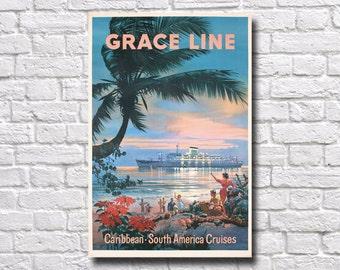 "Caribbean Travel Poster - 11"" x 17"" - #0122"