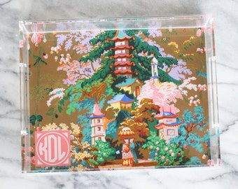 Pagoda Blossoms Monogrammed Chinoiserie Lucite Tray
