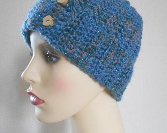 Crochet hat, Winter's hat, Blue crochet hat, Crochet Beanie, Gift for her
