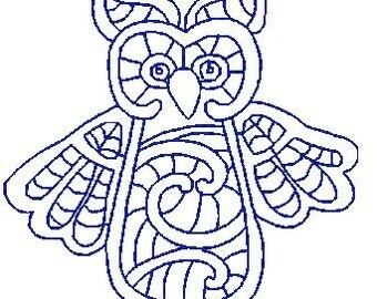 Redwork Colorlace Owls