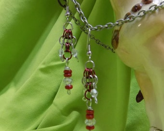 Chain mail, butterfly weave with red and clear beads