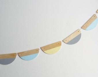 Half circle bunting-grey/sky blue/yellow