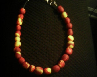 Pretty Red/Yellow Beaded Necklace