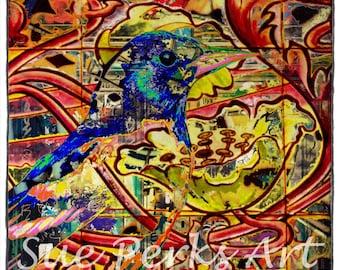Nouveau Red Bird Digital Art Print