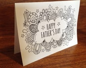 Father's Day Folded Card to Colour - Digital Download - Original Doodle Design