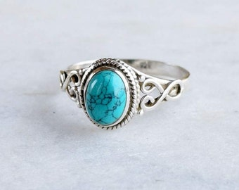 Turquoise Ring ~ Turquoise Silver Ring ~ Silver Turquoise Ring ~ 925 solid sterling Silver ~ Handmade Ring ~ Sizes Available 4 to 13 US
