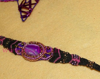 Bracelet with pink agate embroidered beadwork, macrame weaving black and pink