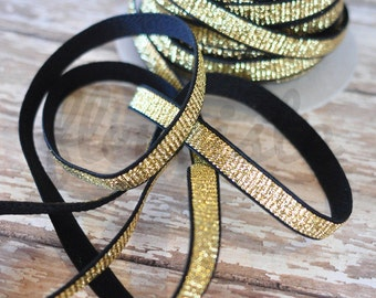 "Gold Braided on Black 3/8 Elastic, 3/8"" in Gold Elastic, Glitter,  Glitter elastic, Frosted Elastic, Printed Elastic, Wholesale Elastic"