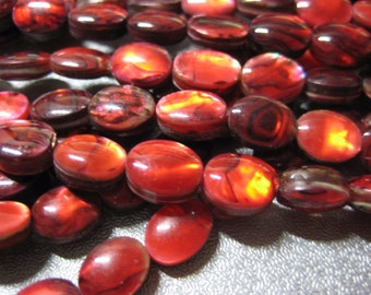 Red Abalone Shell Laminated Oval Beads 47pcs