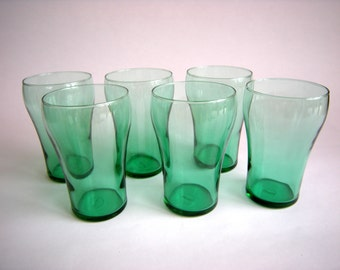 Six Coca Cola style glasses