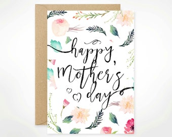 Happy Mother's Day, Printable, Mother's Day Card Printable, For Mom, Watercolour, Floral, Aunt, Stepmom, Nana