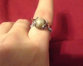 petoskey stone and wire ring