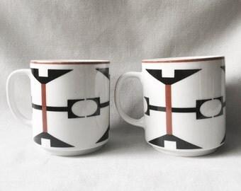 Brown and Black Mug Set // Geometric Coffee Mug Set // Ceramic Coffee Mug // Geometric Home Decor // Vintage Coffee Mug Set (D6)