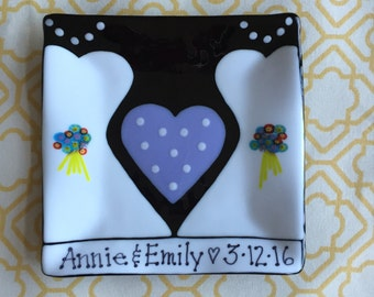 "Fused Glass Wedding Plate - Customized with names and wedding date - 8.5"" square"