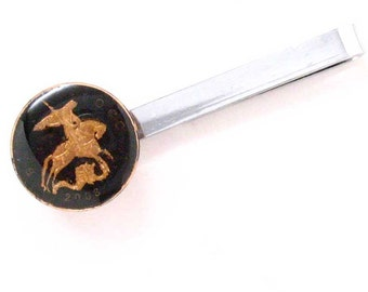Russian St. George Tie Bar Clip Tiebar Tieclip Suit Slaying The Dragon Russia Coin Money Trade Finance Black Faith