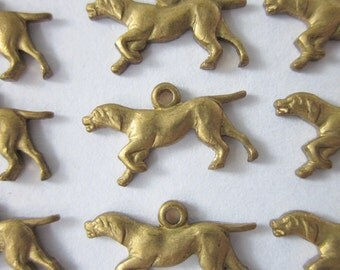 12 Vintage Brass Stampings/Charms, Hunting Dog, 14.5mm x 8mm