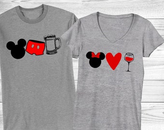 Couple's (2) Drinking Around the World (EPCOT) shirts