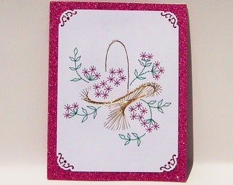 Hand Stitched Flower Basket Note Card