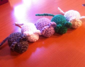 Catnip-Stuffed Rattling Mice (Set of 5) - Crocheted