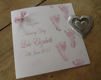 Personalised Naming Day Card - Pink Baby Feet Design PPS80