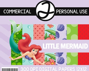 DIGITAL PAPERS - Ariel Little Mermaid inspired personal & commercial use! (Papers, font, and clip art included)