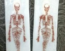 Mermaid skeleton earrings burned glass mermaids fused glass mermaid day of the dead sugar skull Mermaid skeleton earrings skull jewelry skul