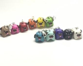 Set of 11 Polymer Clay Rainbow Pug Charms