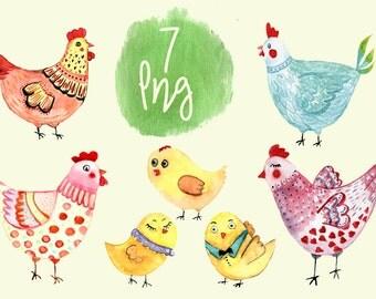 7 Watercolor Hen Clip Art