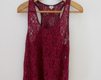 Oxblood Red Lace Tank/Camisole