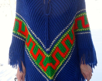 Royal Blue Brightly-Colored Knit Poncho 1970s (vintage)