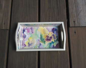 PANSIES- watercolor painting on tray