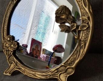 Brass Floral Mirror