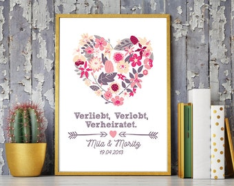 DIN A4 wedding day/anniversary art print, mural 'VVV' print, gift wedding